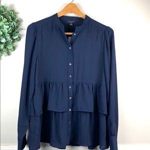 Ann Taylor Factory Blue Button Down Shirt